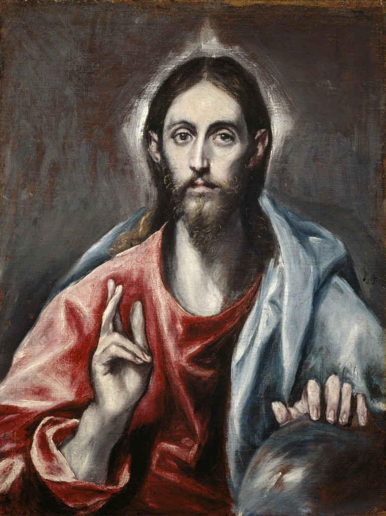 Title: Christ Blessing ('The Saviour of the World') Artist: El Greco (Domenikos Theotokopoulos) Spanish Depicted: Jesus Christ Gallery: Scottish National Gallery (On Display) Subject: Christianity Religious Materials: Oil on canvas Date created: About 1600 Measurements: 73.00 x 56.50 cm (framed: 99.20 x 81.20 cm) Credit line: Purchased 1952